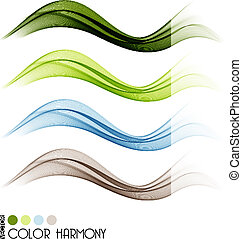 Set of color curve lines design element. Vector illustration