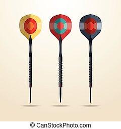 Set of color darts. Vector.
