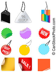 Set of color different shopping tag