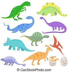 Set of color dinosaurs in cartoon style. Vector illustration isolated on white background.