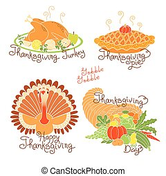 Set of color drawings to Thanksgiving Day. Autumn harvest,...