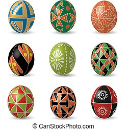 Set of color Easter eggs.