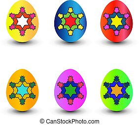 Set of color easter eggs. Vector illustration.
