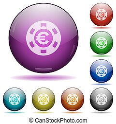 Euro casino chip glass sphere buttons