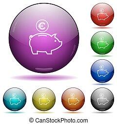 Euro piggy bank glass sphere buttons
