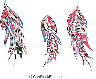 set of color feathers style zentangle