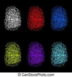 Set of color fingerprints on black background.