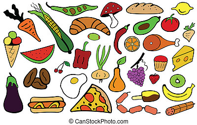 food - set of color food doodles