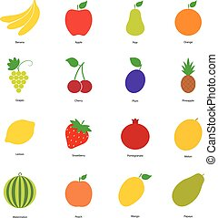 Set of color fruit icons and berry icons, vector illustration