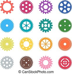 Set of color gear wheels, vector illustration