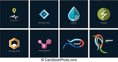 Set of color geometric icons on blue