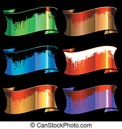 set of color glossy ribbons with dirt