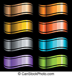 set of color glossy ribbons