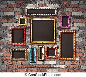 Set of color gold vintage frames