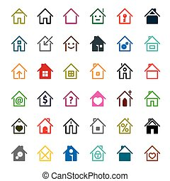 Set of color house icon. Vector Illustration.