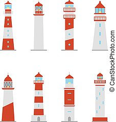Set of color icons of lighthouses, vector illustration