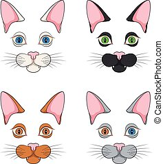 Set of color illustrations with cat faces, muzzle. Isolated vector objects.
