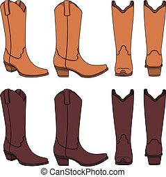 Set of color illustrations with cowboy boots. Isolated vector objects.