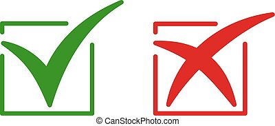 Set of color isolated icons of cross and tick on white background. Green and red icon of check box. Green yes. Red no.