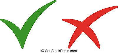 Set of color isolated icons of cross and tick on white background. Green and red icon of check. Green yes. Red no.