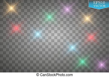 Set of color lights, flares isolated on transparent background.