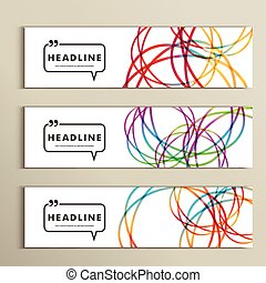 Set of color line banners for abstract design