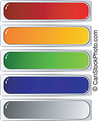 Set of color long buttons on white background
