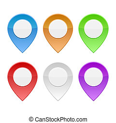 Set of Color Map Pointers on White Background. Vector