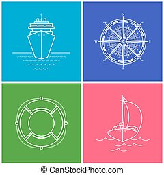 Set of Color Maritime Icons