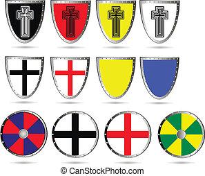 Set of color medieval  shields