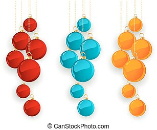 Set of color Merry Christmas baubles