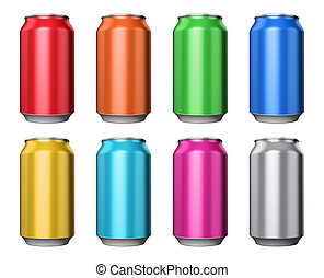 Set of color metal drink cans