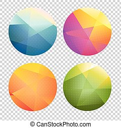 Set Of Color Origami Spheres
