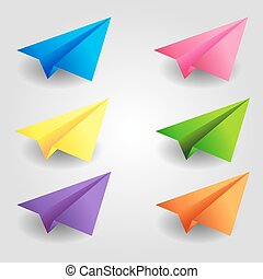 Set of color paper planes