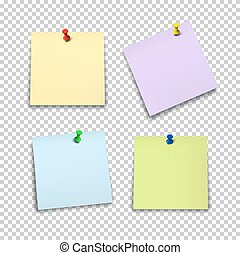 Set of color paper sheets with pins isolated on transparent background.