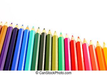 Set of color pencils diagonal