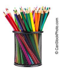 Set of color pencils in a basket