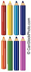 Set of color pencils in different colors