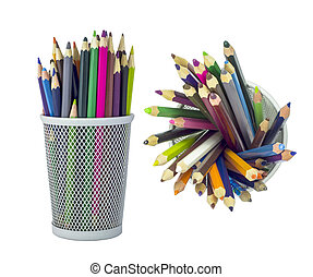 Set of color pencils in metal grid container, isolated on...