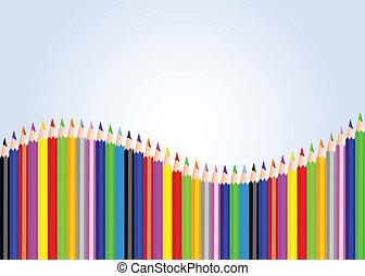 color pencils - set of color pencils on blue gradation...