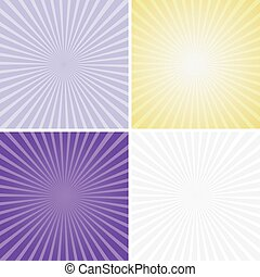 Set of color radiant backgrounds