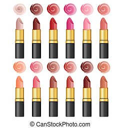 Set of color realistic lipsticks. Vector illustration on white background.