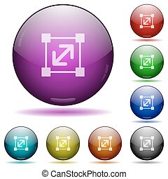 Resize element glass sphere buttons