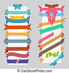 set of color retro ribbons banners