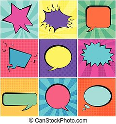 Set of color retro speech bubbles with backgrounds