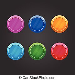 Set of color round buttons