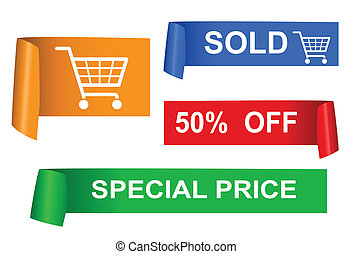Set of color sale sticker, vector