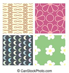 set of color seamless baby wallpaper. vector illustration. flowers, patterns