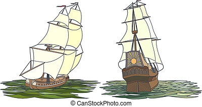 Set of color ship with sails.