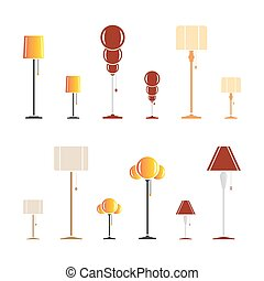Set of color silhouettes of lamps